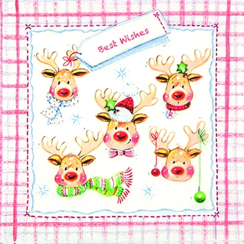 Cocktail Servietten A Bunch og Elks,  Tiere - Rentiere,  Weihnachten,  cocktail servietten,  Rentier