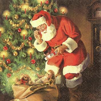 Servietten 25 x 25 cm ,  Weihnachten - Weihnachtsbaum,  Weihnachten - Weihnachtsmann,  Weihnachten,  cocktail servietten,  Weihnachtsbaum,  Weihnachtsmann