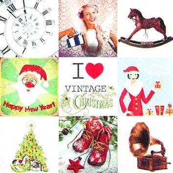 Cocktail Servietten I Love X-Mas Vintage,  Weihnachten - Weihnachtsbaum,  Weihnachten - Weihnachtsmann,  Weihnachten,  cocktail servietten,  Schaukelpferd,  Schuhe,  Weihnachtsbaum,  Grammophon,  Uhr