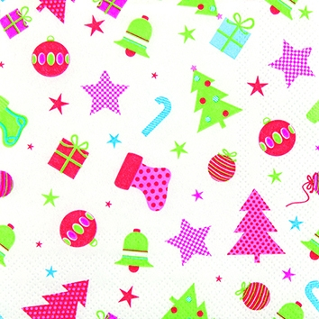 Servietten 25 x 25 cm,  Weihnachten - Geschenke,  Weihnachten - Weihnachtsbaum,  Weihnachten,  cocktail servietten,  Sterne,  Weihnachtsbaum,  Kugeln