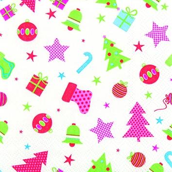 Cocktail Servietten Christmas Icons,  Weihnachten - Geschenke,  Weihnachten - Weihnachtsbaum,  Weihnachten,  cocktail servietten,  Sterne,  Weihnachtsbaum,  Kugeln