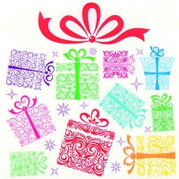 Cocktail Servietten Colourful Presents,  Weihnachten - Geschenke,  Weihnachten,  cocktail servietten,  Geschenke