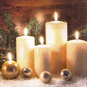 Cocktail Servietten Candle Light,  Weihnachten - Kerzen,  Weihnachten,  cocktail servietten,  Kerzen,  Kugeln