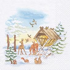 20 Servietten - 33 x 33 cm Animals in Winter,  Tiere - Hasen,  Tiere - Reh / Hirsch,  lunchservietten