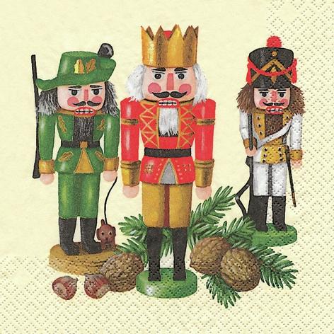 20 Servietten - 33 x 33 cm Nußknackertrio creme,  Weihnachten,  lunchservietten,  Nussknacker,  Jäger