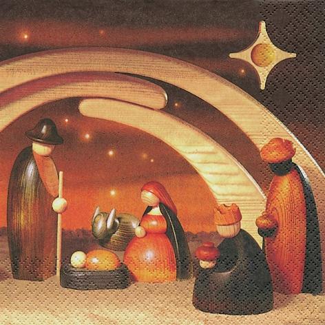 Lunch Servietten Krippe farbig,  Weihnachten,  lunchservietten,  Holz,  Schafe,  Hirten