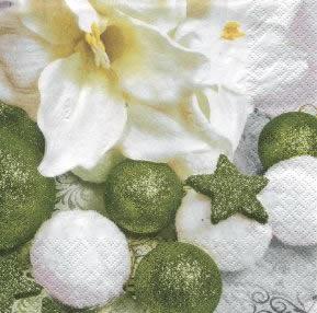 20 Servietten - 33 x 33 cm Glitter Balls with Flower,  Weihnachten - Baumschmuck,  lunchservietten