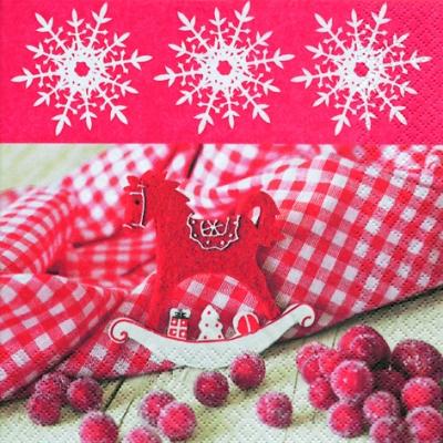 Servietten www,  Weihnachten,  lunchservietten,  Schaukelpferd,  Beeren