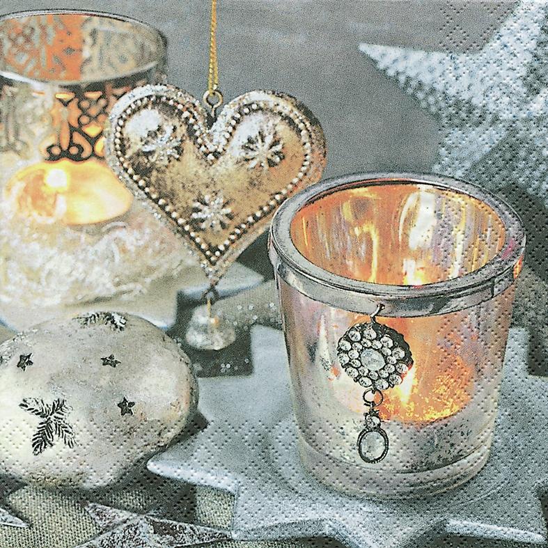Lunch Servietten Vintage Silverr,  Weihnachten - Baumschmuck,  Weihnachten - Kerzen,  Weihnachten,  lunchservietten,  Kerzen,  Herz,  Sterne