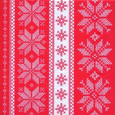 Home Fashion,  Winter - Kristalle / Flocken,  Weihnachten,  lunchservietten,  Schneeflocken,  rot