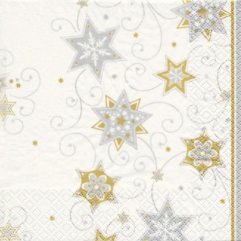 Lunch Servietten Stars & Swirls silver,  Weihnachten - Sterne,  Weihnachten,  lunchservietten,  Sterne