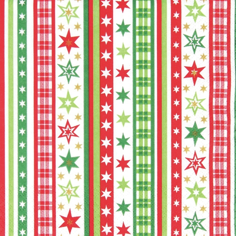 Lunch Servietten Stripes&Stars red/green,  Weihnachten,  lunchservietten,  Sterne,  Streifen