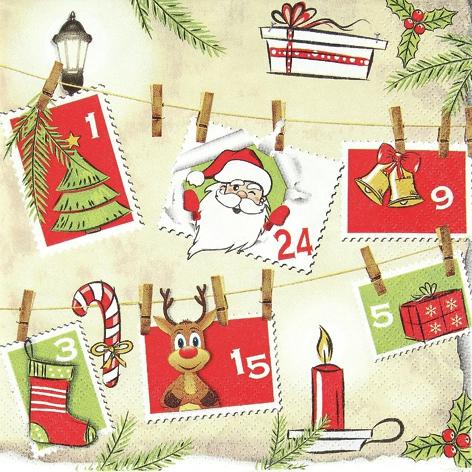 Servietten / Geschenke,  Weihnachten - Geschenke,  Weihnachten,  lunchservietten,  Briefmarken,  Weihnachtskalender,  Weihnachtsmann,  Rentier