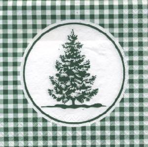 Lunch Servietten Vichy Tree green,  Sonstiges - Muster,  lunchservietten,  Weihnachtsbaum,  Karos,  grün