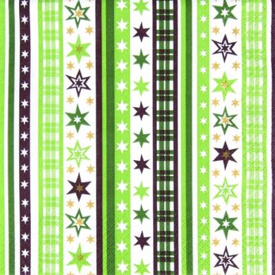 Lunch Servietten Stripes&Stars green,  Weihnachten,  lunchservietten,  Sterne,  Streifen