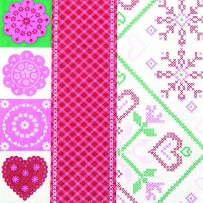 Lunch Servietten Stitched Patterns,  Winter - Kristalle / Flocken,  Everyday,  lunchservietten,  Herzen,  Schneeflocken