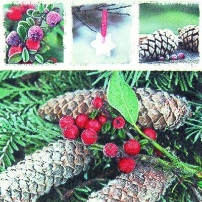 Lunch Servietten Red Frozen Berries,  Früchte -  Sonstige,  Früchte - Zapfen,  Weihnachten,  lunchservietten,  Zapfen,  Beeren