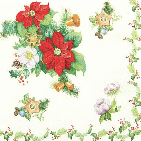 Lunch Servietten Poinsettia nand Ilex,  Weihnachten - Glocken,  Weihnachten - Weihnachtsstern,  Weihnachten,  lunchservietten,  Weihnachtsstern,  Glocken