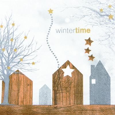 Lunch Servietten Wintertime Village,  Weihnachten - Sterne,  Weihnachten,  lunchservietten,  Sterne,  Häuser,  Schriften