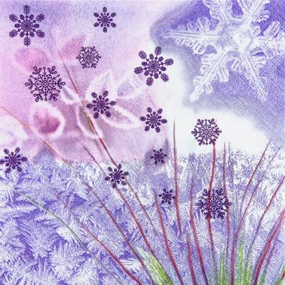 Home Fashion,  Winter - Kristalle / Flocken,  Weihnachten,  lunchservietten,  Schneeflocken