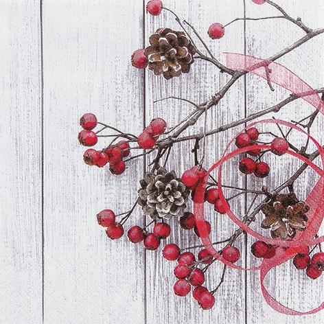 Lunch Servietten Cottage Rosehip,  Früchte -  Sonstige,  Früchte - Zapfen,  Weihnachten,  lunchservietten,  Beeren,  Zapfen