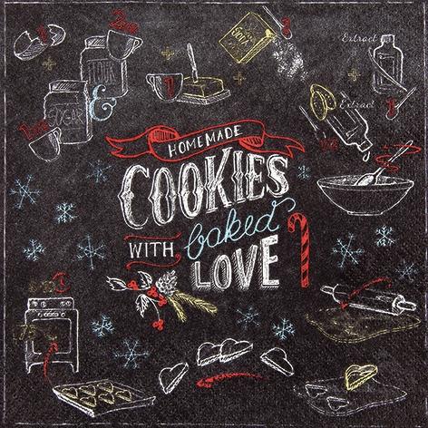 Servietten / Kuchen - Keks,  Essen - Kuchen / Keks,  Sonstiges - Schriften,  Winter - Kristalle / Flocken,  Weihnachten,  lunchservietten,  Kekse,  Schriften,  Schneeflocken
