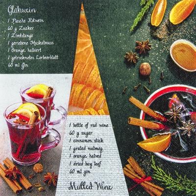 Lunch Servietten Mulled Wine Receipe,  Sonstiges - Schriften,  Getränke - Wein / Sekt,  Früchte - Südfrüchte,  Weihnachten,  lunchservietten,  Zimt,  Schriften,  Zitronen,  Gewürze