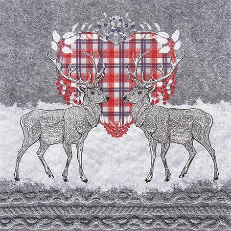 Lunch Servietten Oh Deer,  Tiere - Reh / Hirsch,  Weihnachten,  lunchservietten,  Herzen,  Hirsch
