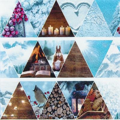 Lunch Servietten Triangular Tree,  Tiere - Vögel,  Tiere - Eichhörnchen,  Winter - Kristalle / Flocken,  Weihnachten,  lunchservietten,  Kerzen,  Holz,  Bücher,  Kekse,  Laterne