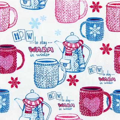 Lunch Servietten Warm up,  Winter - Kristalle / Flocken,  Weihnachten,  lunchservietten,  Geschirr,  Tassen,  Schneeflocken