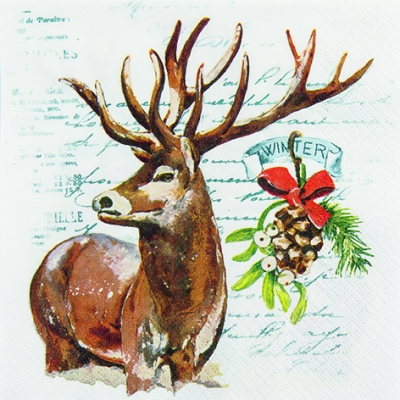 Servietten / Tannenzapfen,  Früchte - Zapfen,  Tiere - Reh / Hirsch,  Weihnachten,  lunchservietten,  Mistel,  Hirsch,  Schriften