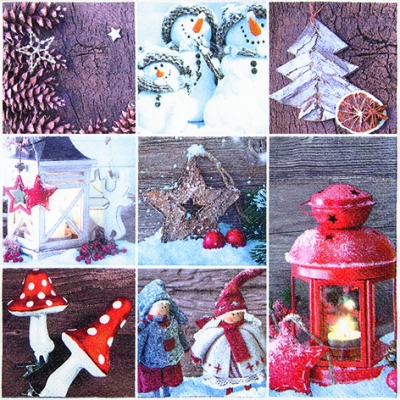 Lunch Servietten Winter Patchwork,  Weihnachten - Sterne,  Früchte - Zapfen,  Winter - Schneemänner,  Weihnachten,  lunchservietten,  Laterne,  Zapfen,  Schnee,  Pilze,  Puppen