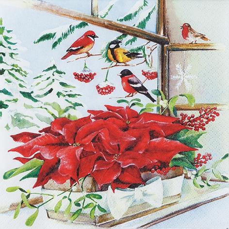 Lunch Servietten Basket with Poinsettia,  Tiere - Vögel,  Blumen - Weihnachtsstern,  Weihnachten,  lunchservietten,  Weihnachtsstern,  Vögel