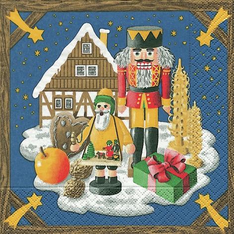 Lunch Servietten Weihnachtsland,  Winter - Schnee,  Weihnachten,  lunchservietten,  Rächermännchen,  Nussknacker