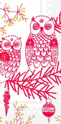 Buffet Servietten OWL ORNAMENT white red,  Tiere - Vögel,  Weihnachten,  lunchservietten,  Eulen,  Baumschmuck