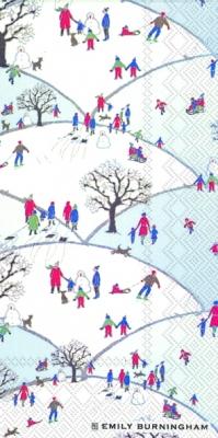 Buffet Servietten SNOWY HILL,  Menschen - Personen,  Winter,  lunchservietten,  Personen,  Schnee,  Bäume