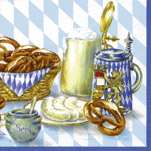 20 Servietten - 25 x 25 cm BAYRISCHE BROTZEIT blue                 ,  Getränke -  Sonstige,  Essen -  Sonstiges,  Everyday,  cocktail servietten