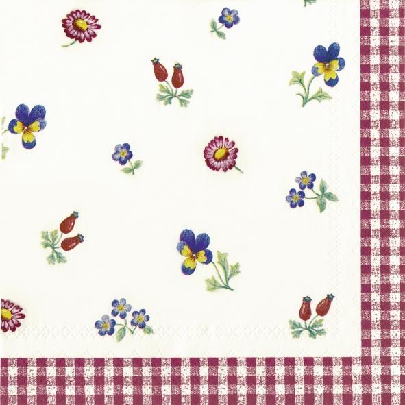 20 Servietten - 25 x 25 cm V&B Petite Fleur,  Sonstiges - Muster,  Blumen - Stiefmütterchen,  Everyday,  cocktail servietten