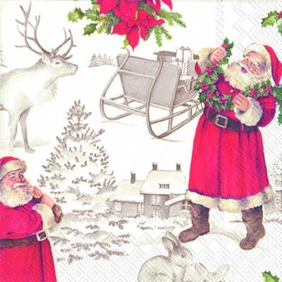 Cocktail Servietten WELCOME SANTA,  Winter - Schlitten,  Weihnachten - Weihnachtsmann,  Weihnachten,  cocktail servietten,  Weihnachtsmann