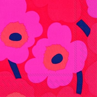 Cocktail Servietten UNIKKO pink, Sonstiges -  Sonstiges,  Blumen -  Sonstige,  Blumen,  Everyday,  cocktail servietten,  Blumen,  Muster