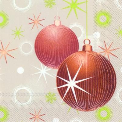 Cocktail Servietten GLITTER BALLS linen,  Weihnachten - Baumschmuck,  Weihnachten,  cocktail servietten,  Baumkugeln,  Sterne
