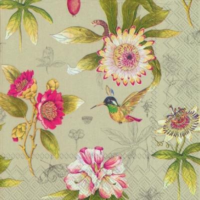Servietten 25 x 25 cm,  Tiere - Vögel,  Blumen -  Sonstige,  Everyday,  cocktail servietten,  Kolibri,  Blumen