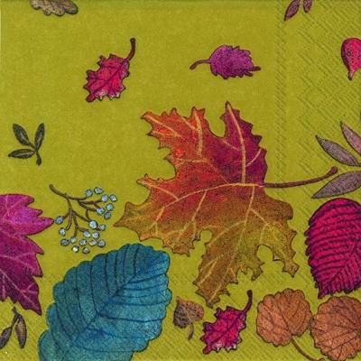 Cocktail Servietten AUTUMN DAY green,  Herbst - Blätter / Laub,  Herbst,  cocktail servietten,  Blätter