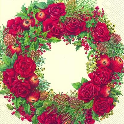 IHR Ideal Home Range,  Früchte - Zapfen,  Früchte - Äpfel,  Blumen - Rosen,  Weihnachten,  cocktail servietten,  Ilex,  Äpfel,  Rosen,  Zapfen