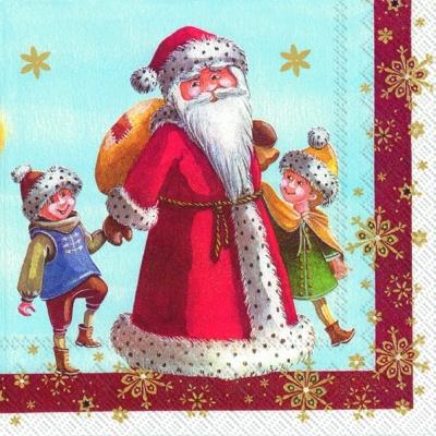 Cocktail Servietten SANTA WITH KIDS (V&B),  Weihnachten - Sterne,  Menschen - Kinder,  Weihnachten - Weihnachtsmann,  Weihnachten,  cocktail servietten,  Kinder,  Weihnachtsmann,  Sterne