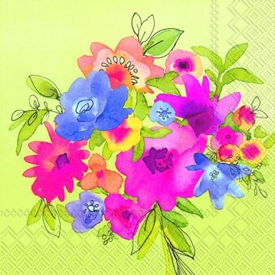 Cocktail Servietten GIFT FLOWERS green,  Blumen -  Sonstige,  Everyday,  cocktail servietten,  Blumen