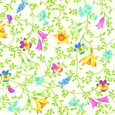 Servietten 25 x 25 cm,  Blumen - Hyazinthen,  Blumen - Osterglocken,  Everyday,  cocktail servietten,  Narzissen,  Stiefmütterchen