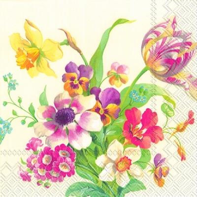 Cocktail Servietten WELCOME SPRING cream,  Blumen - Osterglocken,  Blumen - Tulpen,  Everyday,  cocktail servietten,  Narzissen,  Tulpen