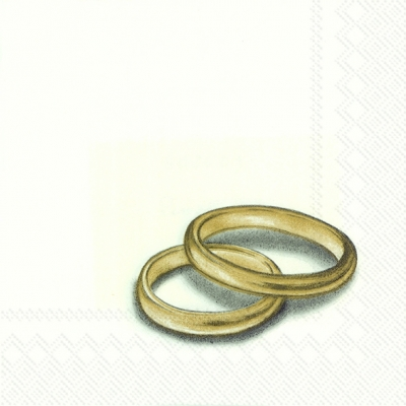 Servietten 33 x 33 cm,  Ereignisse - Hochzeit,  Everyday,  cocktail servietten,  Hochzeit,  Goldene hochzeit,  Ringe