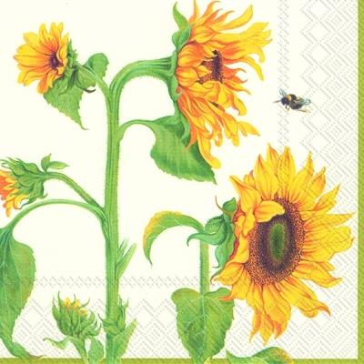 Cocktail Servietten HELIANTHUS ANNUUS cream,  Blumen - Sonnenblumen,  Everyday,  cocktail servietten,  Sonnenblume,  Bienen
